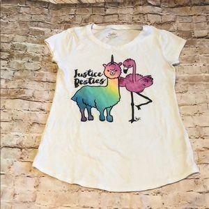 Justice flamingo llama rainbow unicorn T-shirt 10